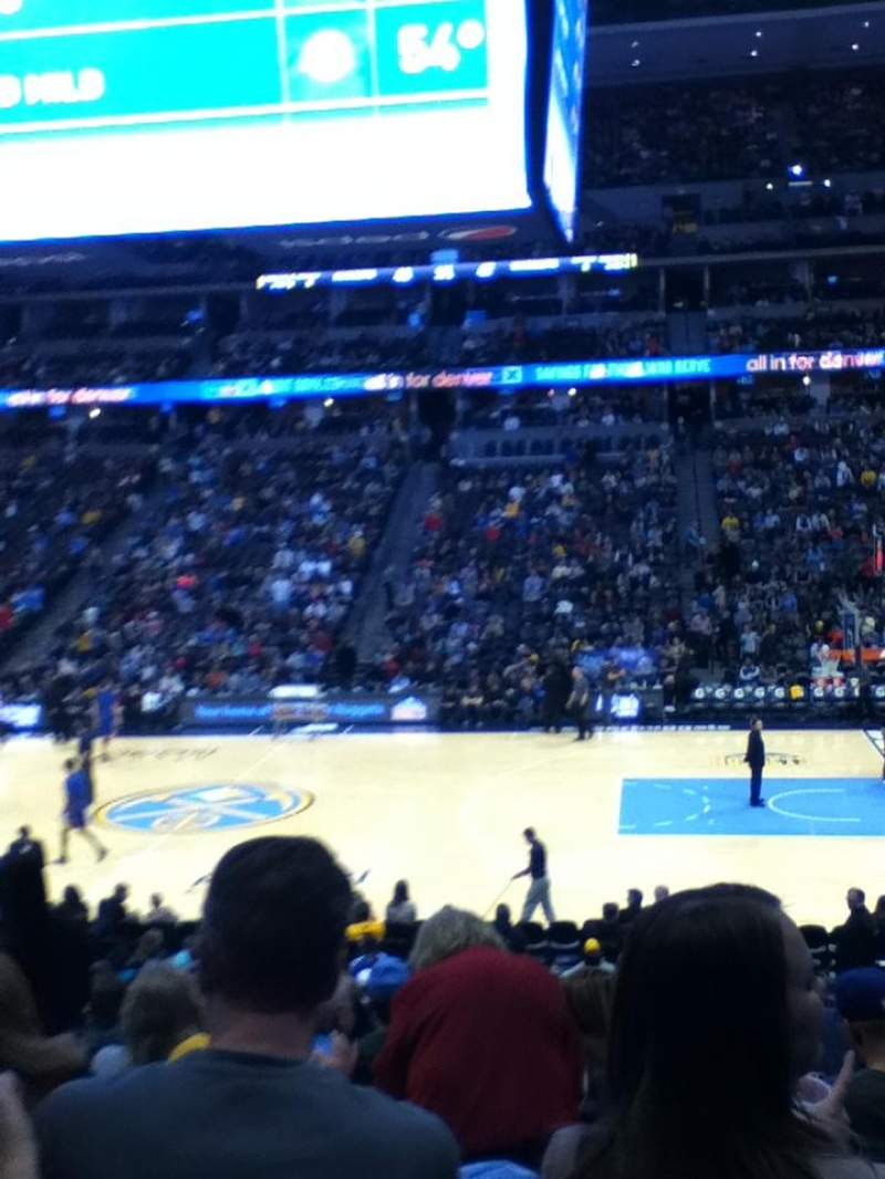 Seating view for Pepsi Center Section 124 Row 18