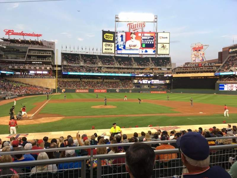 Seating view for Target Field Section 110 Row 4 Seat 7
