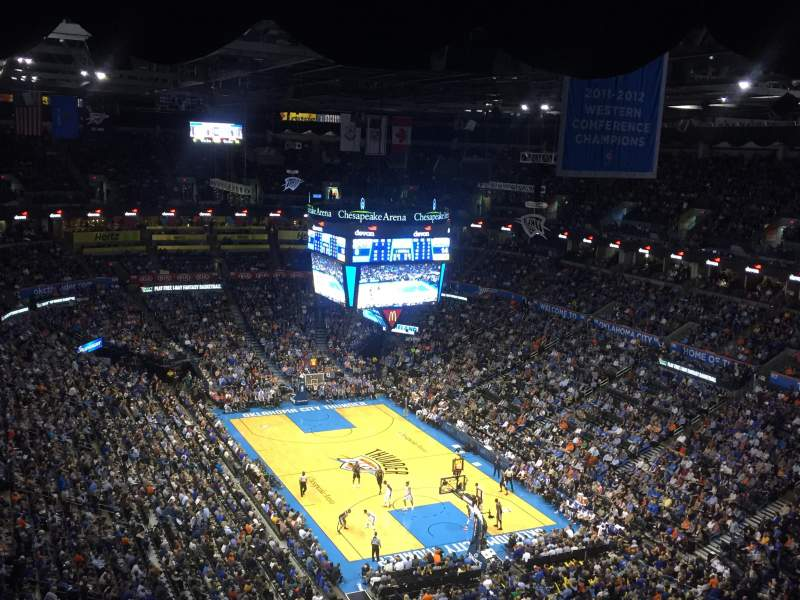 Seating view for Chesapeake Energy Arena Section 303 Row Q Seat 19