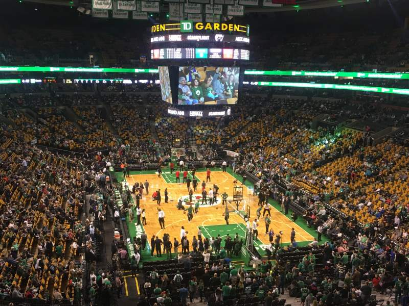 Seating view for TD Garden Section Bal 325 Row 1 Seat 4