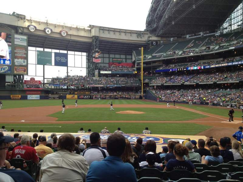 Seating view for Miller Park Section 121 Row 16 Seat 16