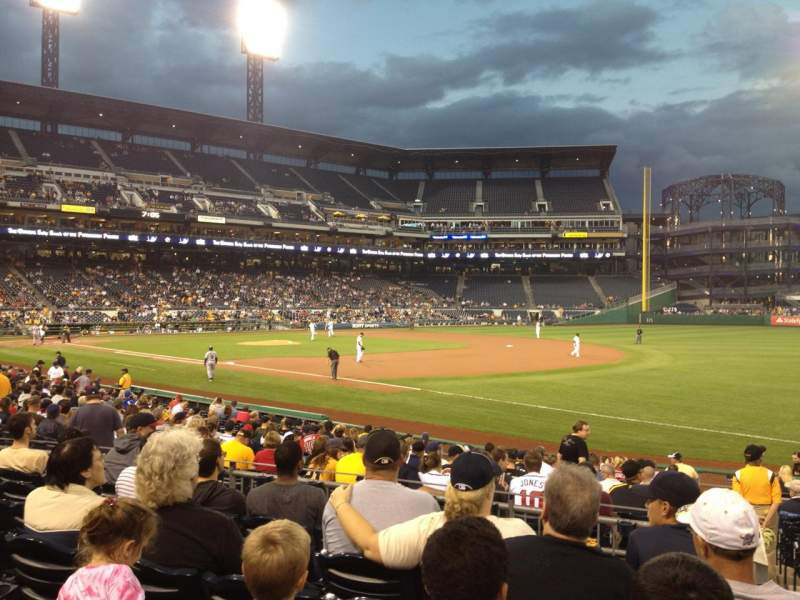 Seating view for PNC Park Section 105 Row G  Seat 1
