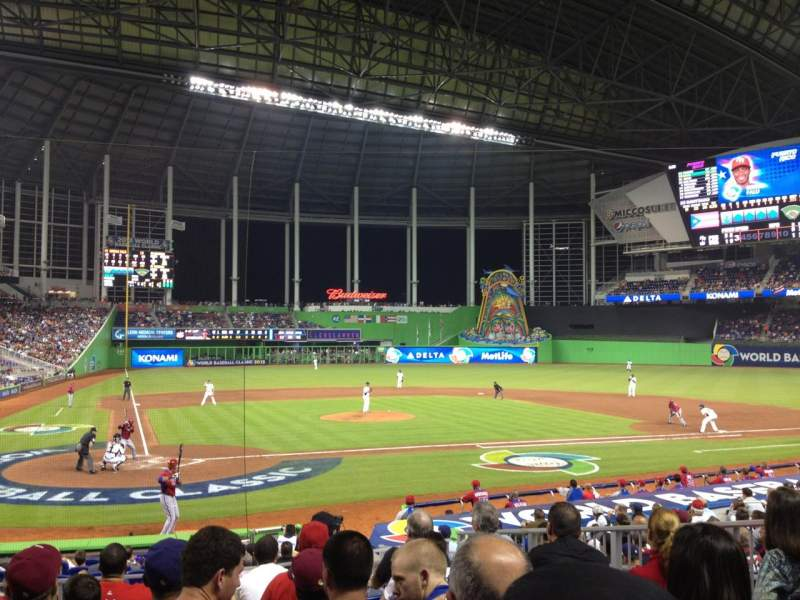 Seating view for Marlins Park Section 11 Row 2 Seat 5
