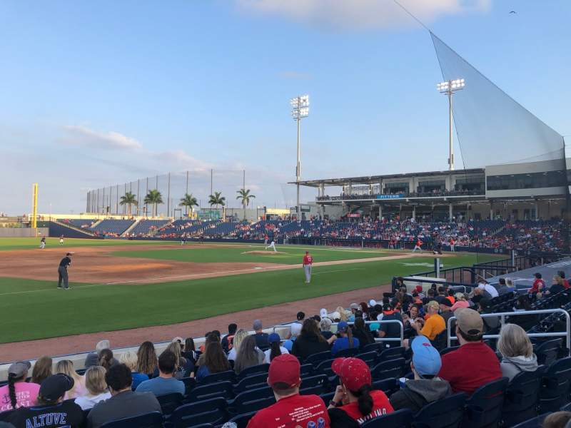 Seating view for FITTEAM Ballpark of the Palm Beaches Section 101 Row M Seat 1
