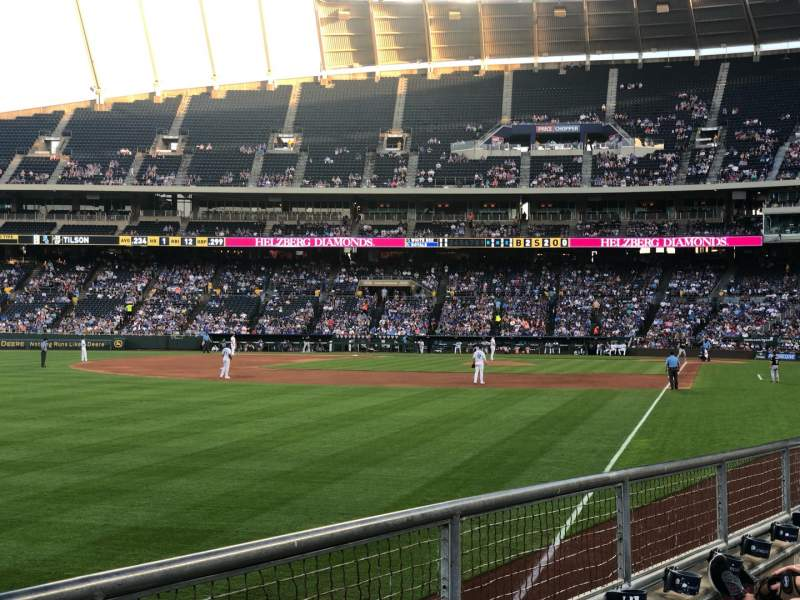Seating view for Kauffman Stadium Section 108 Row J Seat 14