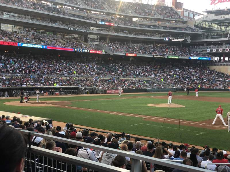 Seating view for Target Field Section 107 Row 2 Seat 4