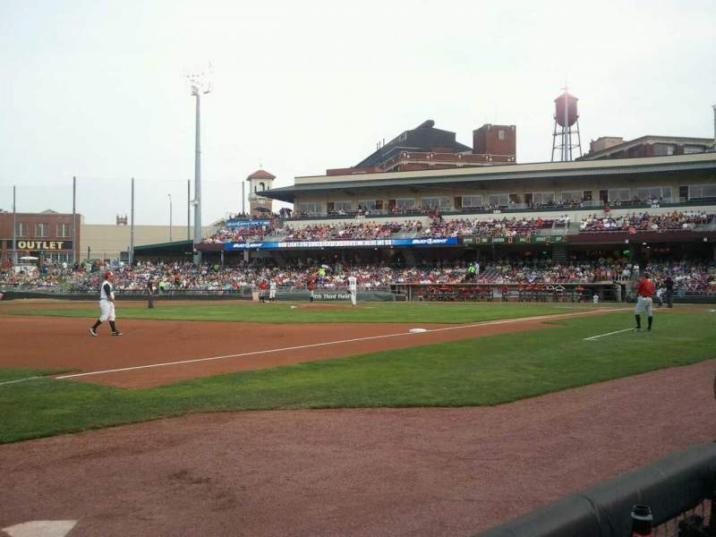 Seating view for Fifth Third Field (Dayton) Section 114 Row 1 Seat 30