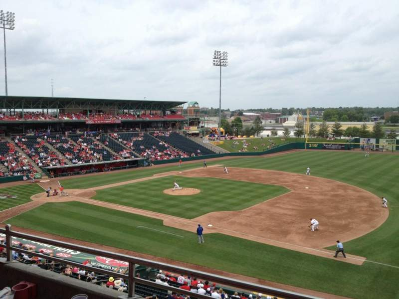 Seating view for Hammons Field Section Club B Row 2 Seat 38