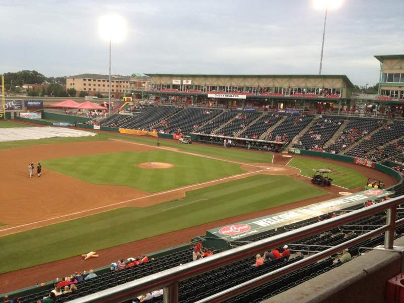 Seating view for Hammons Field Section FF Row 1 Seat 7