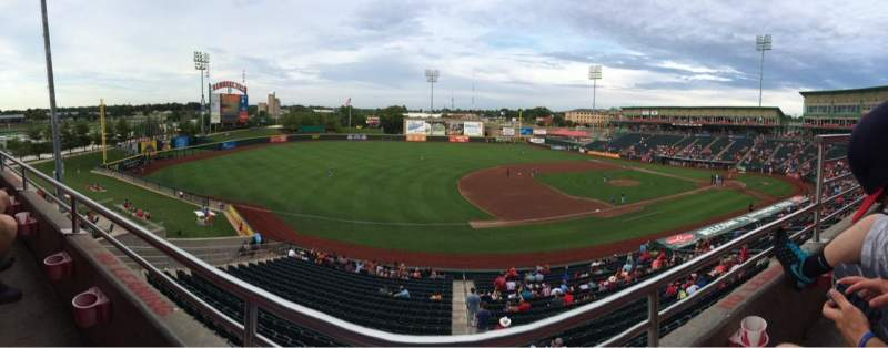 Seating view for Hammons Field Section FF Row 1 Seat 4