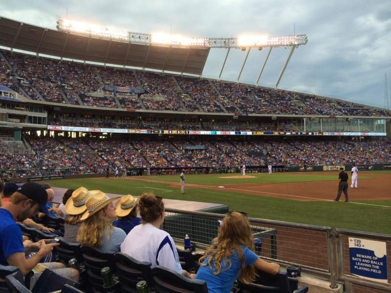 Seating view for Kauffman Stadium Section 140 Row D Seat 1