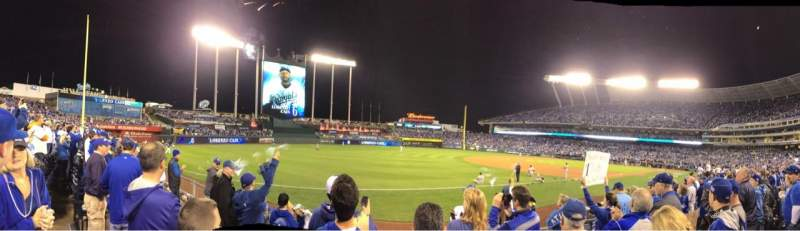 Seating view for Kauffman Stadium Section 114 Row F Seat 5