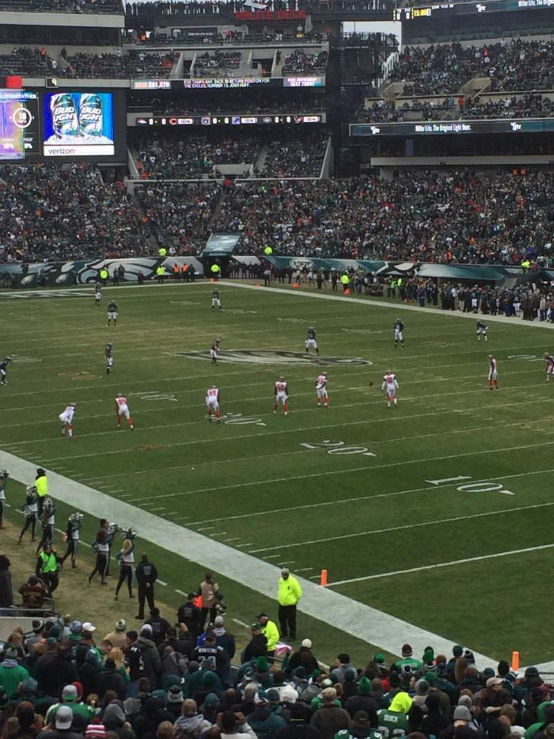 Seating view for Lincoln Financial Field Section Upper Level Sideline 242 Row 20 Seat 12