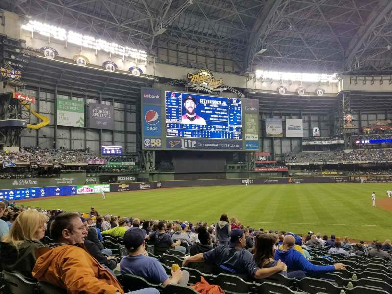 Seating view for Miller Park Section 125 Row 22 Seat 6