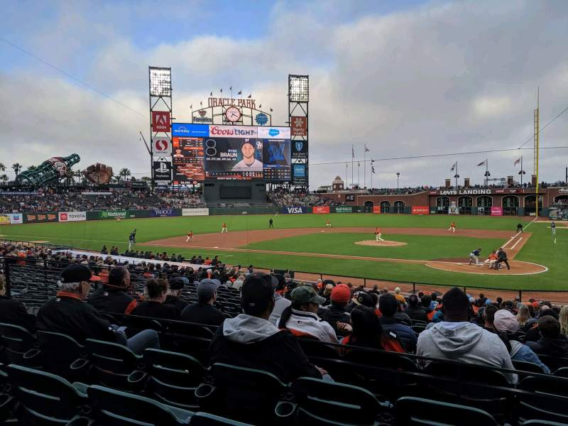 Seating view for Oracle Park Section 119 Row 26 Seat 5