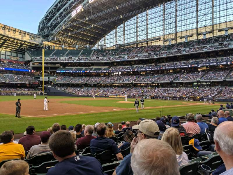 Seating view for Miller Park Section 124 Row 9 Seat 13