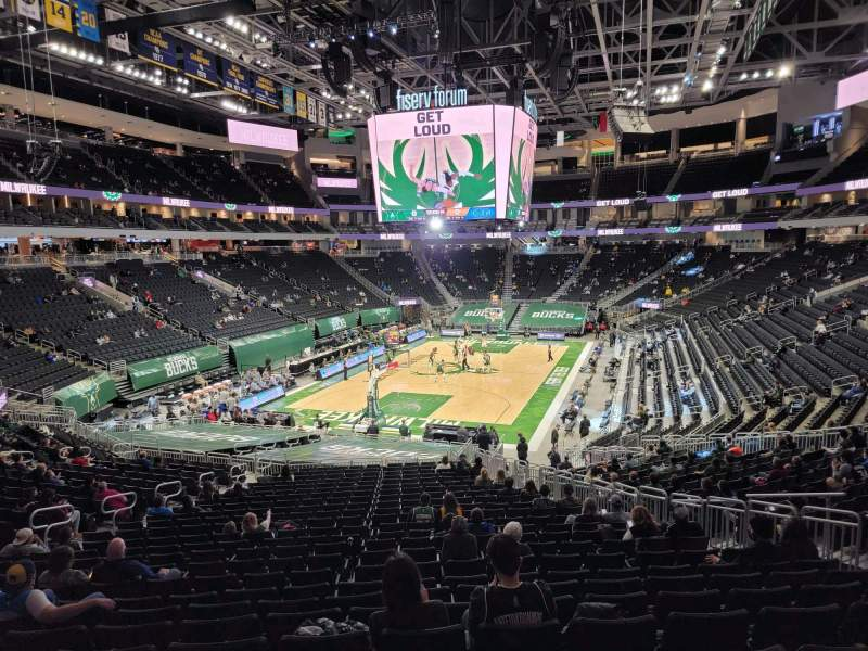 Seating view for Fiserv Forum Section 110 Row 28 Seat 9
