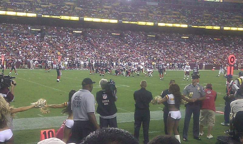 Seating view for FedEx Field Section 104 Row 1 Seat 11