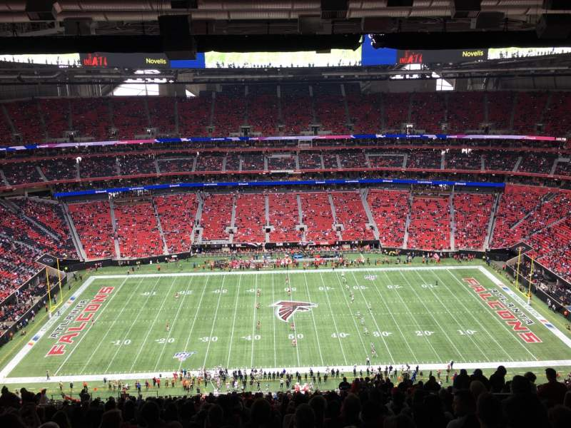 Seating view for Mercedes-Benz Stadium Section 340 Row 31 Seat 9