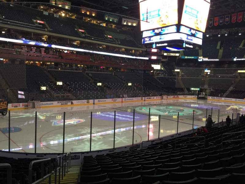 Seating view for Nationwide Arena Section 106 Row Q Seat 20