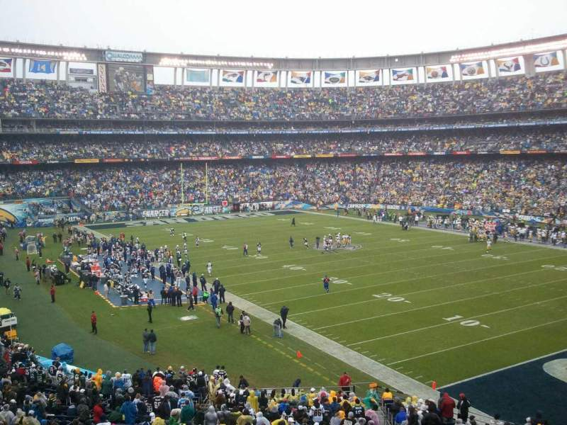 Seating view for Qualcomm Stadium Section P46 Row 1 Seat 7