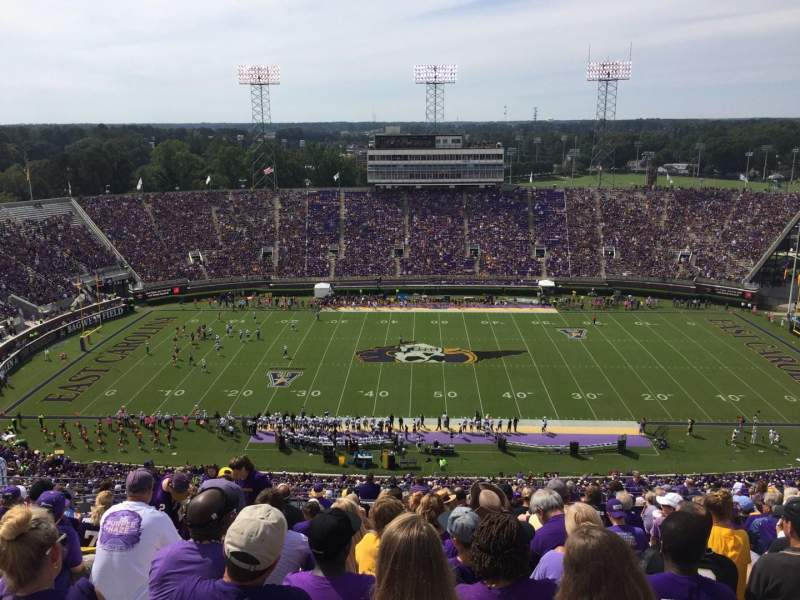 Seating view for Dowdy-Ficklen Stadium Section 217 Row V Seat 25