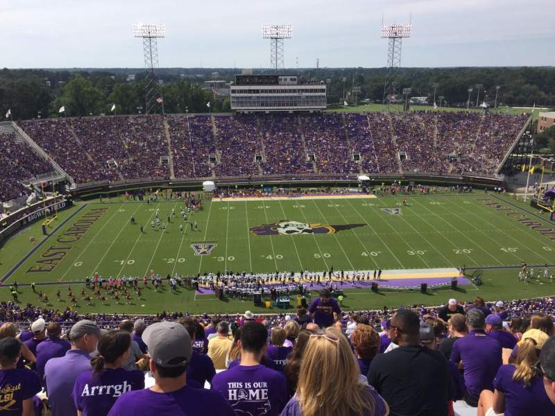 Seating view for Dowdy-Ficklen Stadium Section 218 Row T Seat 13