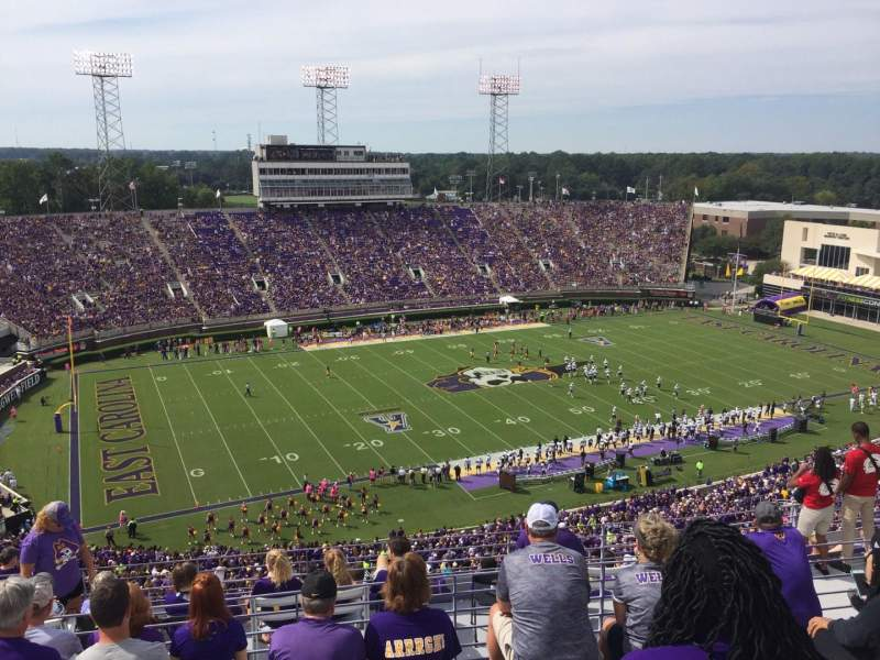 Seating view for Dowdy-Ficklen Stadium Section 220 Row K Seat 18