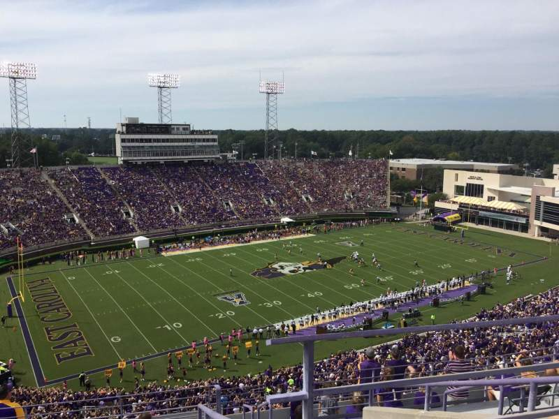 Seating view for Dowdy-Ficklen Stadium Section 221 Row J Seat 1