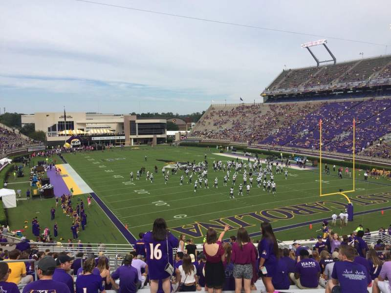 Dowdy-Ficklen Stadium, section: 30, row: AA, seat: 15