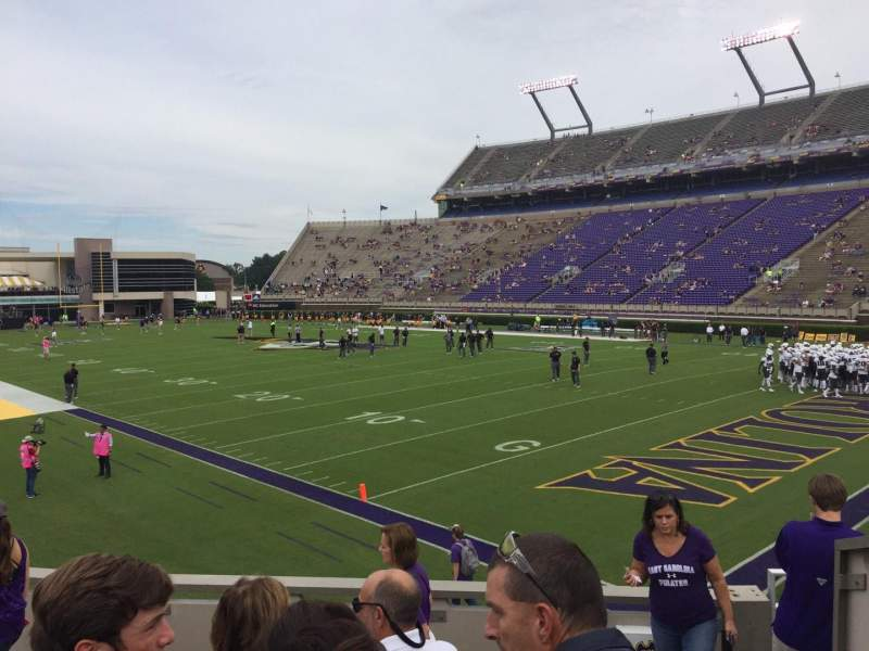 Seating view for Dowdy-Ficklen Stadium Section 1 Row L Seat 1
