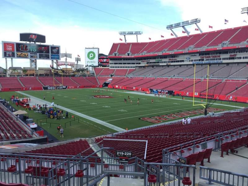 Seating view for Raymond James Stadium Section 220 Row F Seat 1