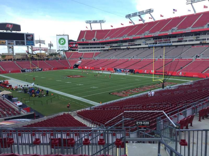 Seating view for Raymond James Stadium Section 219 Row F Seat 1