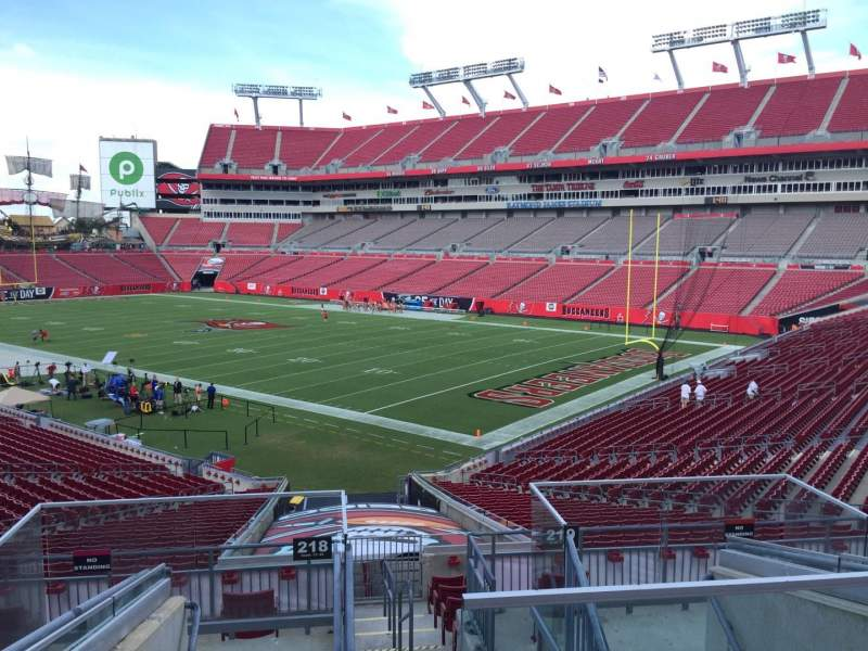 Seating view for Raymond James Stadium Section 218 Row F Seat 1