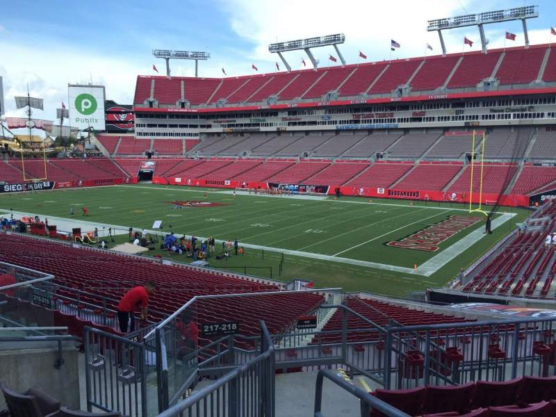 Seating view for Raymond James Stadium Section 217 Row F Seat 17