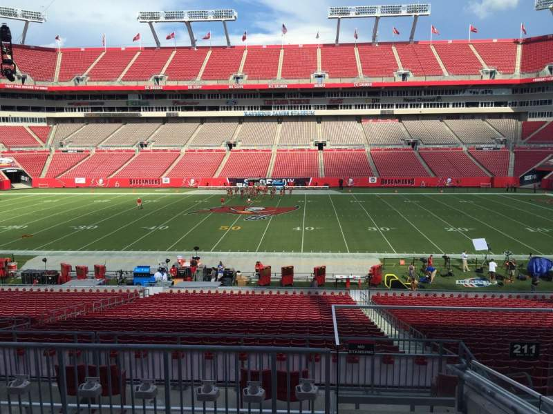 Seating view for Raymond James Stadium Section 211 Row F Seat 24