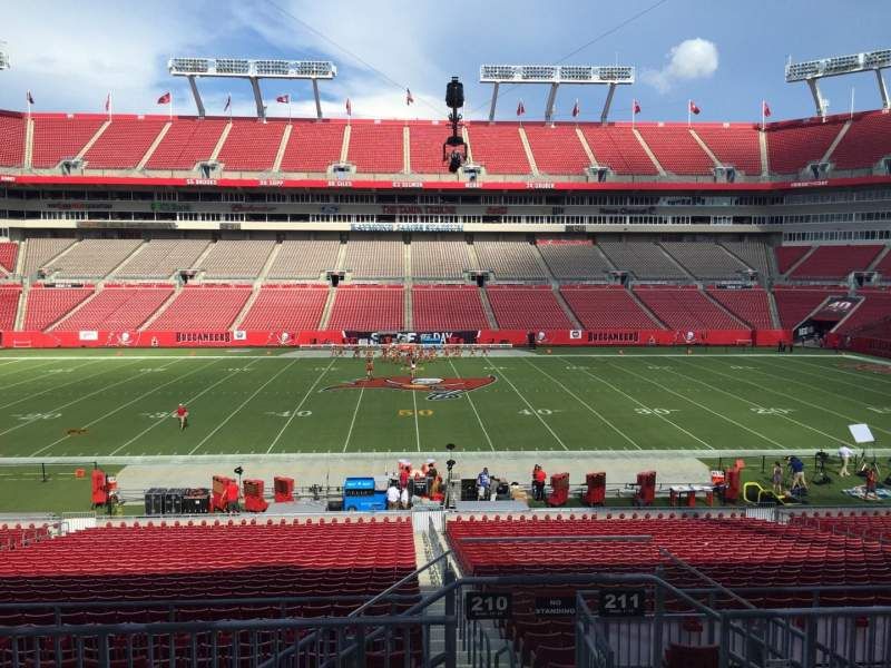 Seating view for Raymond James Stadium Section 210 Row F Seat 24