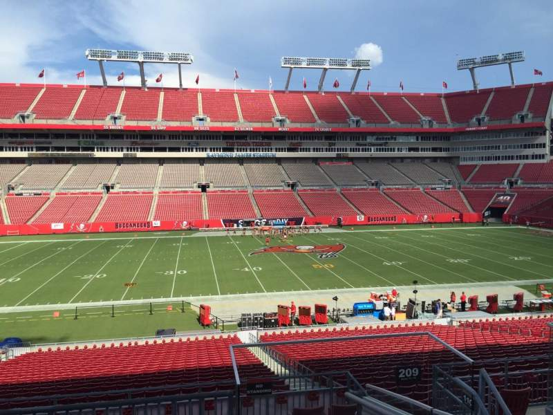 Seating view for Raymond James Stadium Section 209 Row E Seat 18