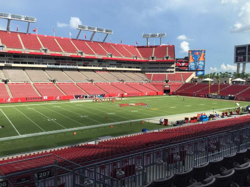Seating view for Raymond James Stadium Section 206 Row E Seat 18