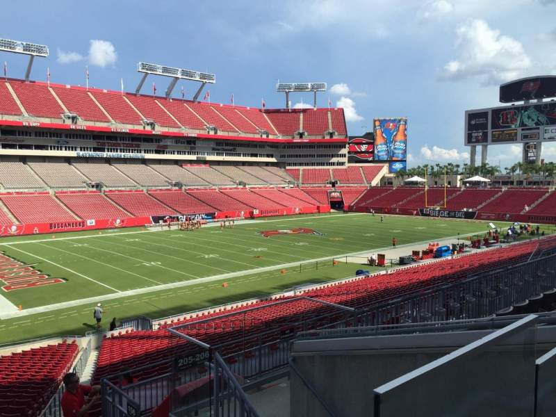 Seating view for Raymond James Stadium Section 205 Row E Seat 18