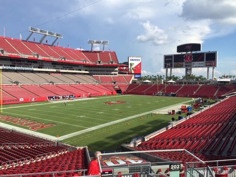 Seating view for Raymond James Stadium Section 202 Row F Seat 24