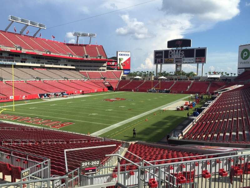 Seating view for Raymond James Stadium Section 201 Row E Seat 16