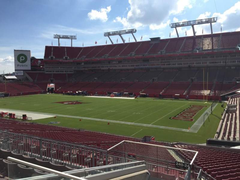 Seating view for Raymond James Stadium Section 240 Row F Seat 22