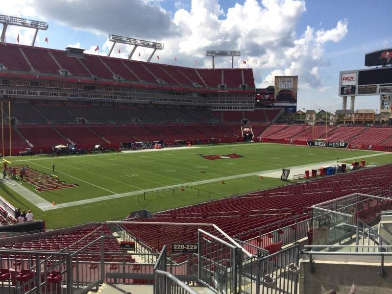 Seating view for Raymond James Stadium Section 229 Row F Seat 1