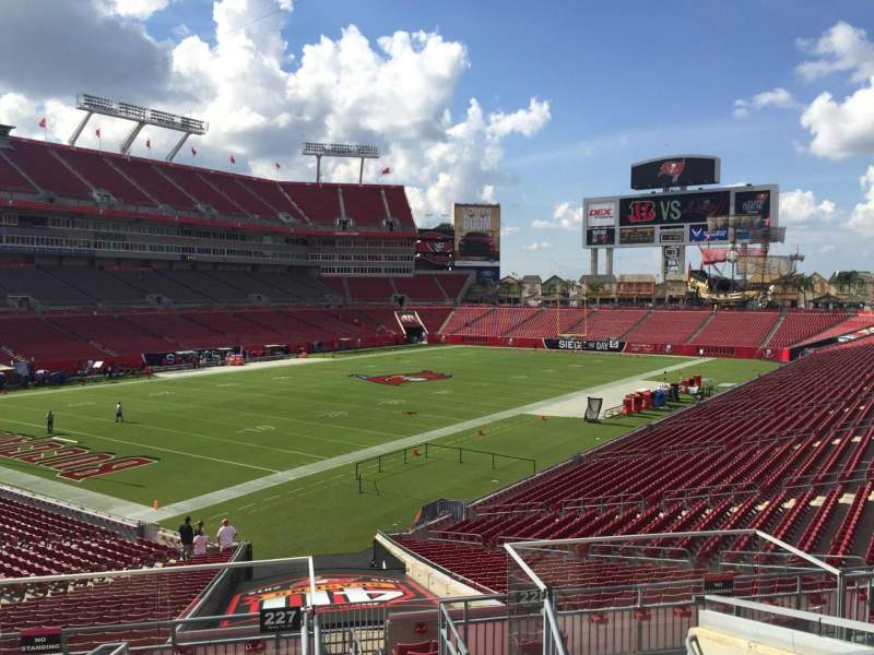 Seating view for Raymond James Stadium Section 227 Row F Seat 1