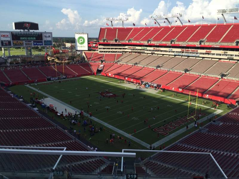 Seating view for Raymond James Stadium Section 319 Row E Seat 1