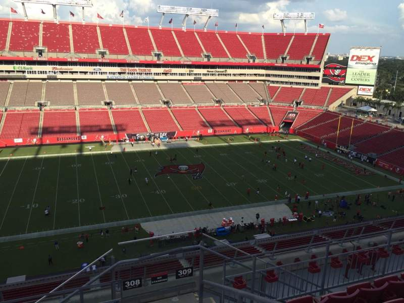 Seating view for Raymond James Stadium Section 308 Row F Seat 24