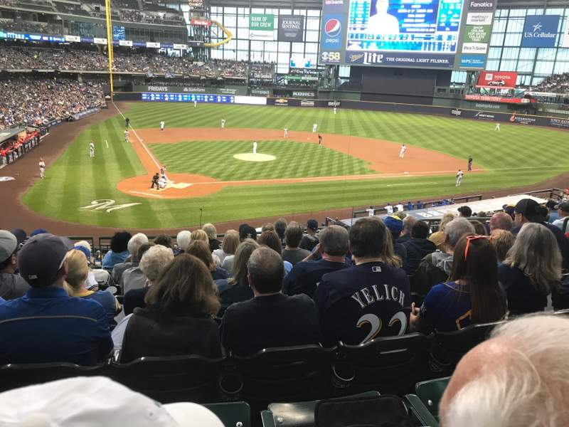 Miller Park, section 216, row 8, seat 7 - Milwaukee Brewers vs