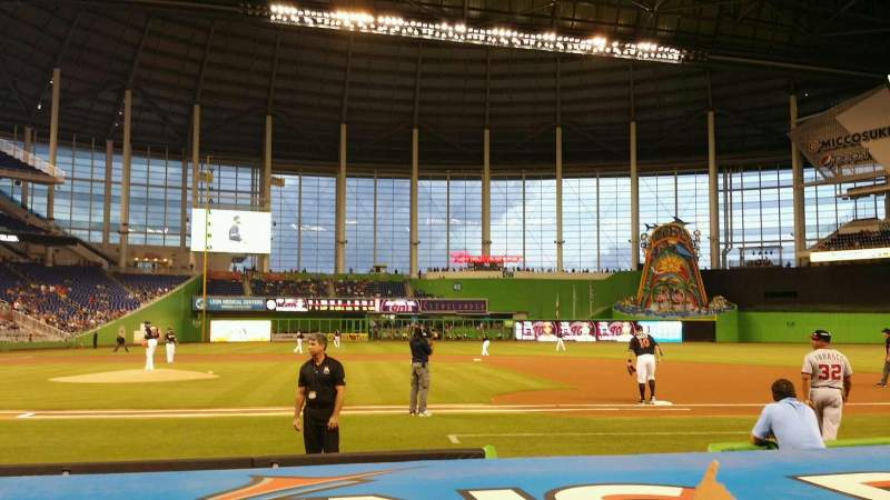 Seating view for Marlins Park Section 9 Row B Seat 1