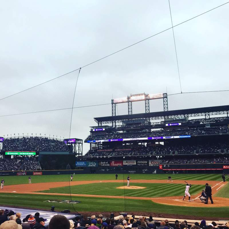 Seating view for Coors Field Section 134 Row 15 Seat 3